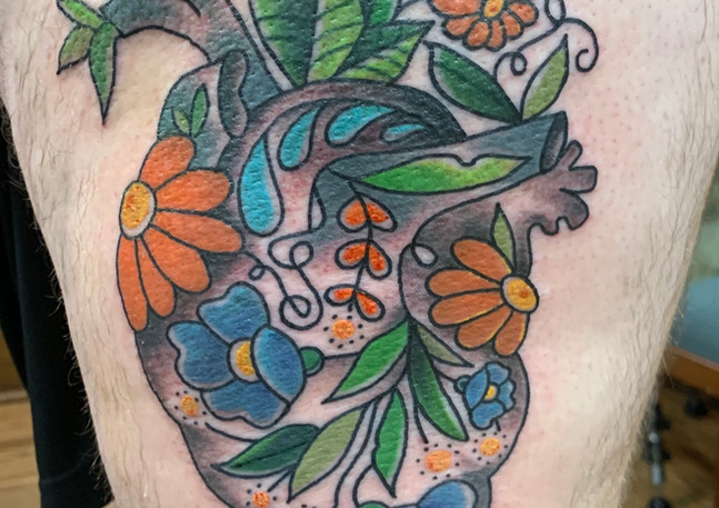 Anatomical Heart with Blue Flowers