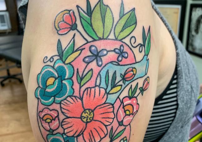 Anatomical Flower Tattoo