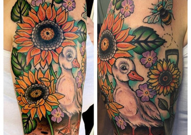 Sunflowers with Duckie Tattoo