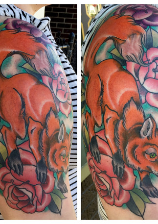 Fox and Roses Tattoo