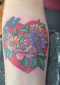 Heart with Flowers Tattoo