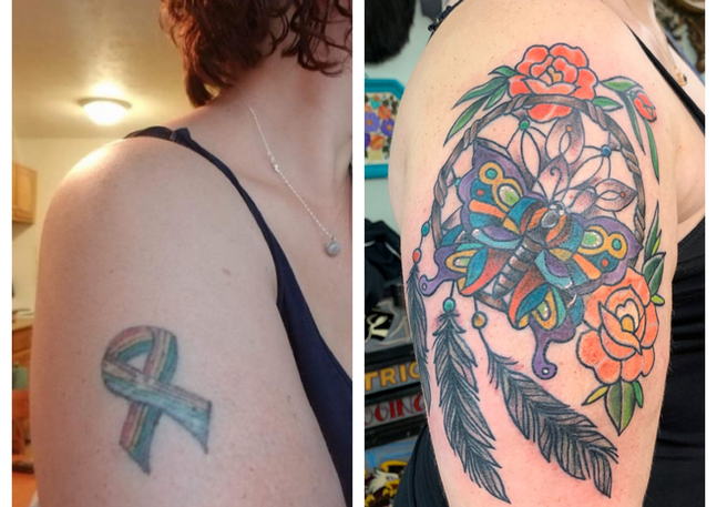 Cover up using a Butterfly, Roses and Dream Catcher