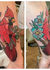 Cardinal Bird & Flower Tattoo