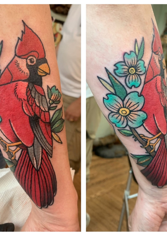 Cardinal Bird & Flower Tattoo