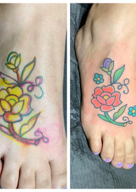 Flowers drawn on to fit