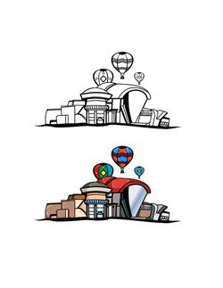 balloon museum building illustration