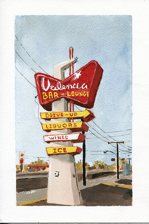 Valencia Bar and Lounge Neon Sign Original Painting