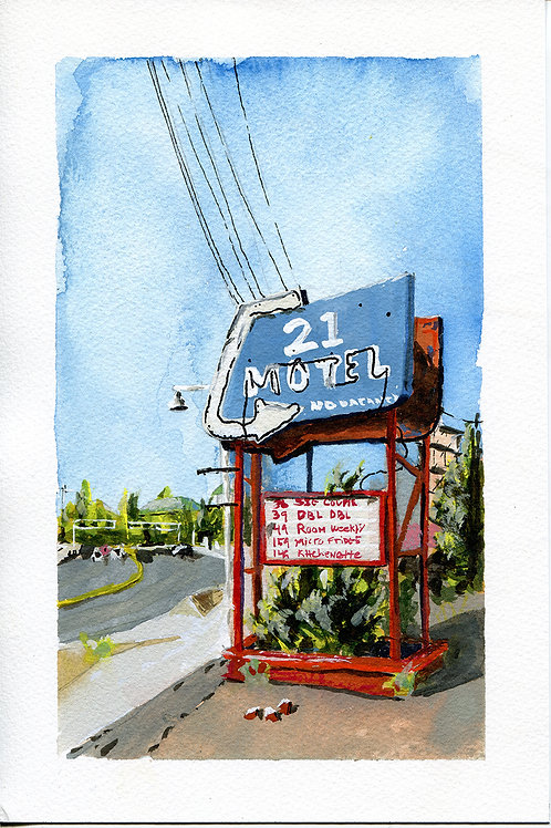 Motel 21 Sign Original Painting