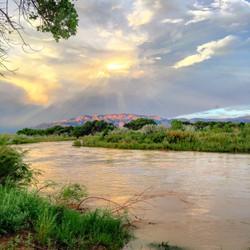 Rio GRande with Sandias, Albuquerque