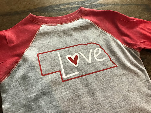 Nebraska Love Youth Baseball Tee