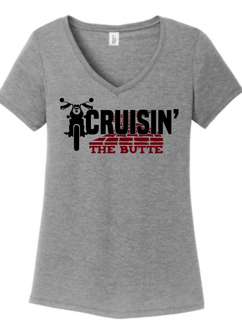 Cruisin' The Butte-Bike Ladies Vneck-T-shirt
