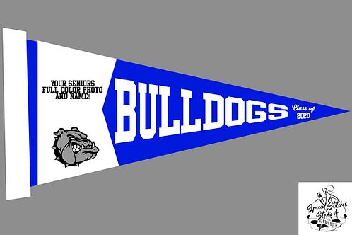Personalized Large Sublimation Senior Bulldog Felt Pennant