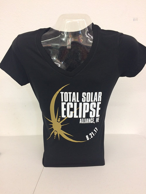 Ladies V-neck Classic Total Solar Eclipse T-shirt