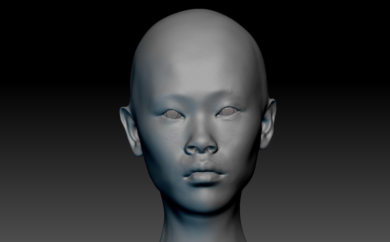 Asian head 3d
