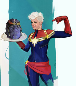 Captain Marvel vs Thanos