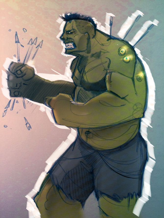 Hulk Sketch and color study