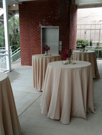 Tables on mid-level patio