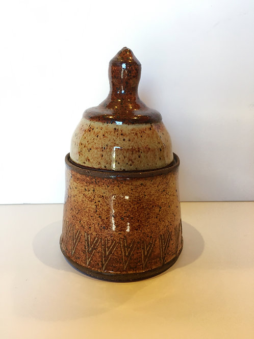 Rust Lidded Vessel with Carvings