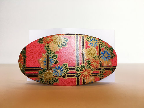 Oval Barrette - Red Floral