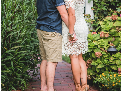 Garden Engagement Session | The Watson House & Gardens | Emerald Isle Wedding Venue | Wedding Pl