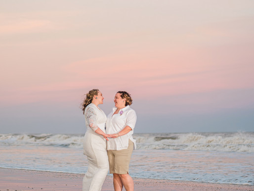 Holly + Layna | Emerald Isle, NC | Same Sex Intimate Destination Elopement | Allie Miller Wedding 🌈