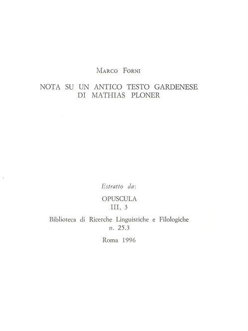 Nota su un antico testo gardenese di Mathias Ploner (Marco Forni)