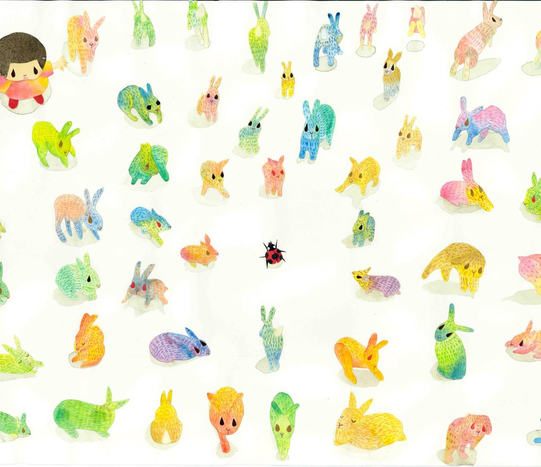 逃げるウサギ