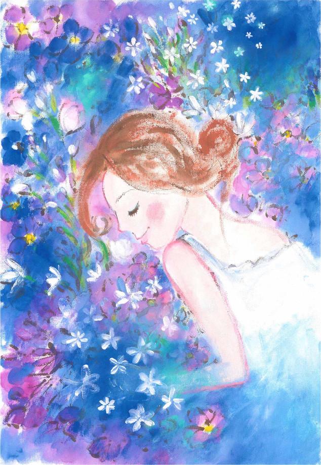 青い花と女の子