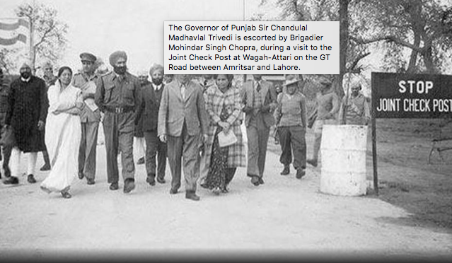Brigadier Mahindar Singh Chopra at the joint check post  at Wagah