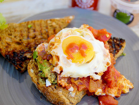Chargrilled Avocado on Toast with Huevos Rancheros