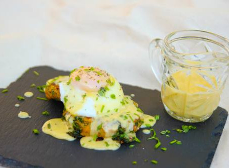 Bubble and squeak, poached egg and hollandaise sauce. by The Greedy Fox