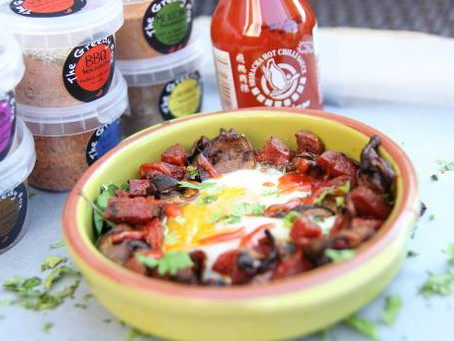 Baked Eggs with Mushroom and Chorizo by the Greedy Fox