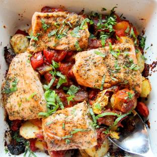 Mediterranean Salmon and Sun Dried Tomato Tray Bake by The Greedy Fox