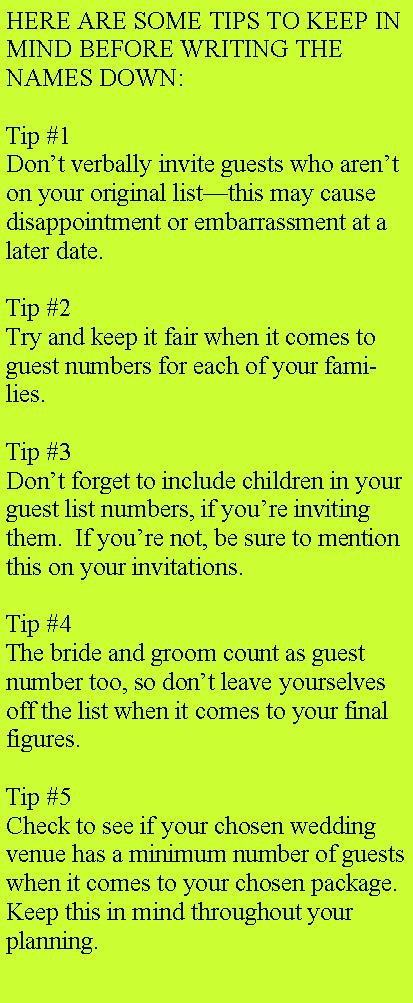 Wedding Guest List tip