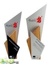 troféu de madeira