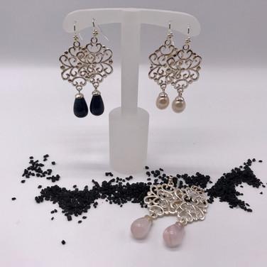 Ohrhänger Silber mit Stein