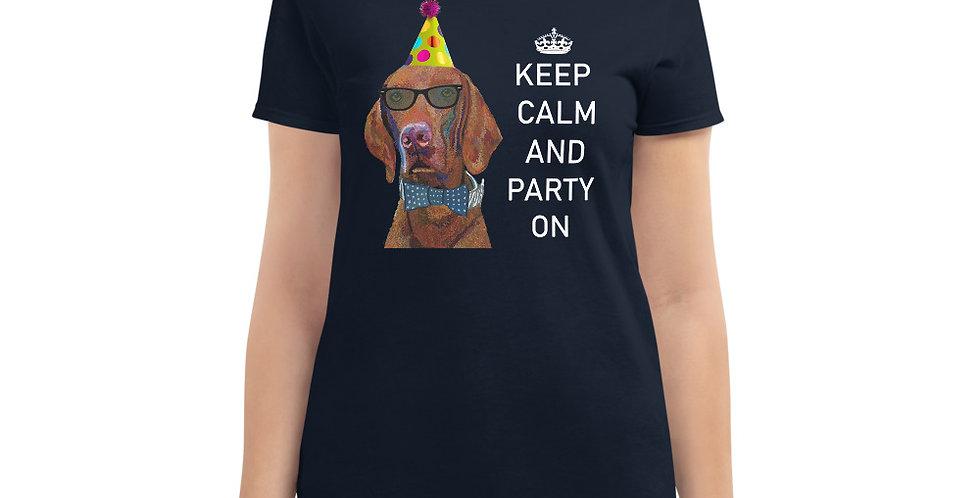 शांत रहें और पार्टी करें- महिलाओं की छोटी आस्तीन वाली टी-शर्ट