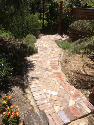 Recycled brick path