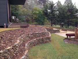 Tiered rock walls