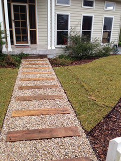 Gravel path with treated pine steppers