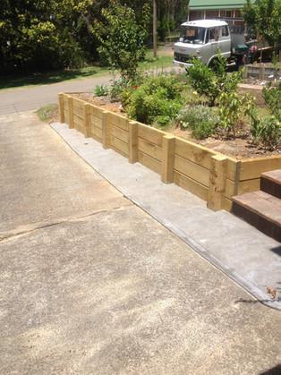 Treated pine retaining wall
