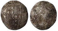 Four-real coin of Ferdinand and Isabella