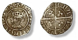 Edward IV 2nd reign halfpenny, initial m