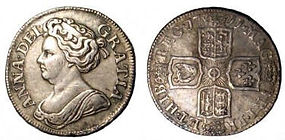 Queen Anne shilling Post-Union, 4th bust