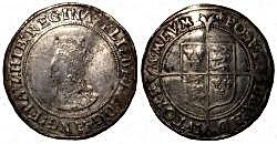 ELIZABETH I SHILLING 1st Issue 1558 - 15