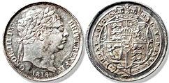 George III Bullhead Sixpence 1816 - Mark