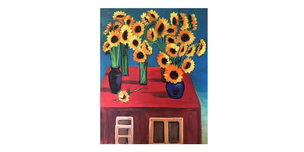 Paint it like Hockney - 30 Sunflowers