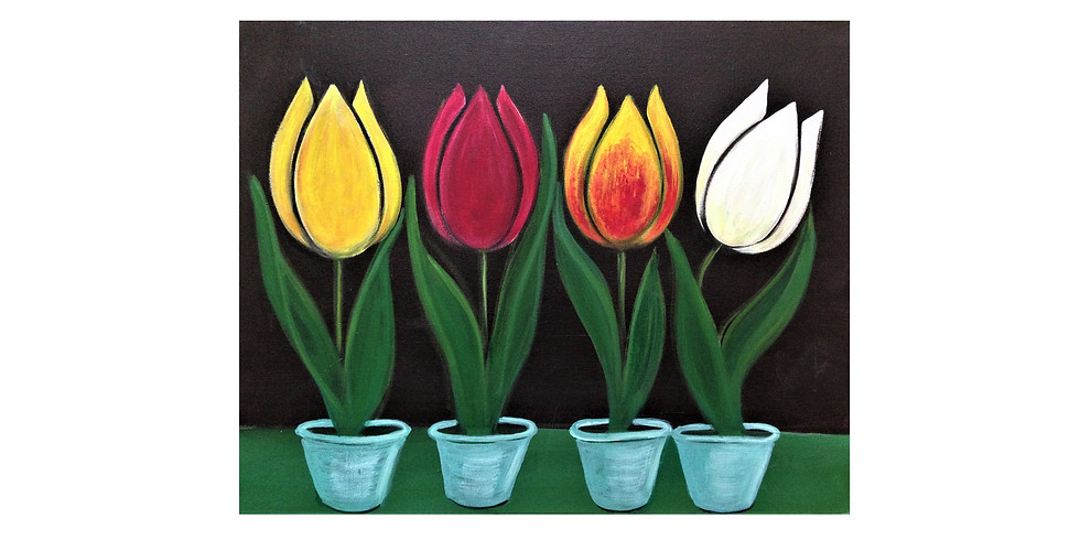 Start a passion for painting. Tulips.