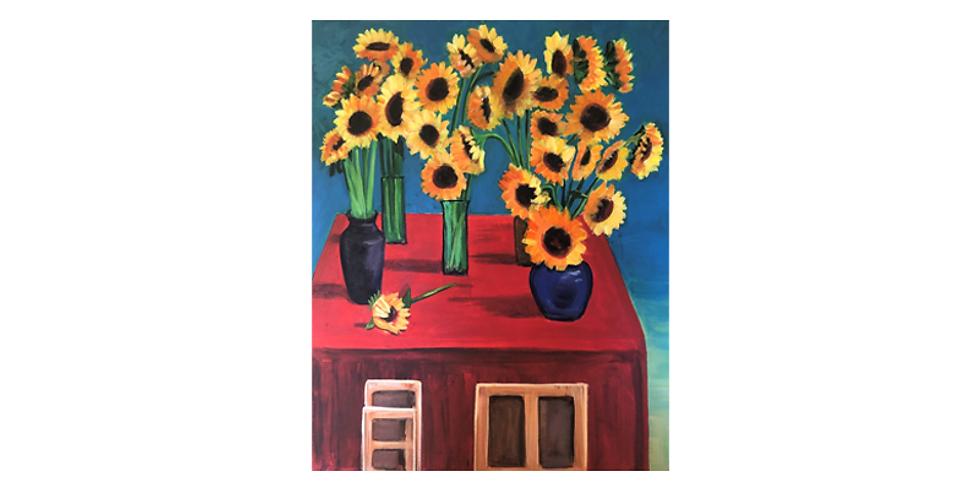 24th August - Paint it like Hockney Sunflowers