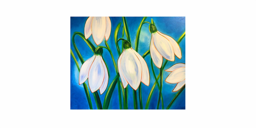 Start a passion for painting. Snowdrops.